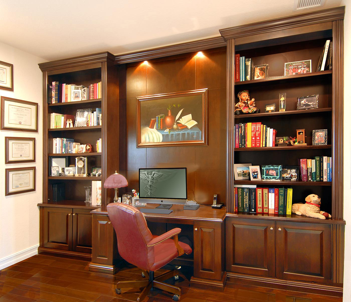 Bookcases on walls